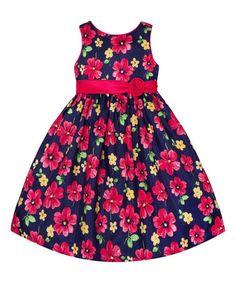Navy & Pink Floral A-Line Dress - Toddler & Girls