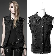 Black fashion vest with tattered sleeves- jean jacket material, bright silver buttons. Tomboy, masculine jacket for a woman.