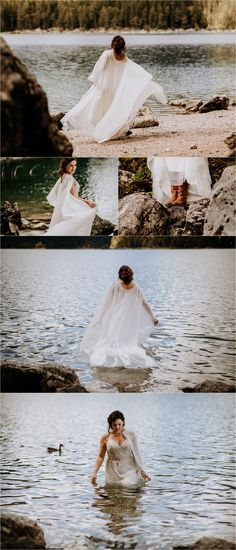 A Lakeside Elopement in the Bavarian Alps Die Braut geht ins Wasser am Eibsee in Deutschland von In Love With A Wolf Mountain Elopement, Silk Roses, Elopement Inspiration, Models, Best Model, Alps, Bridal, Wedding Dresses, Beautiful