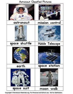 Astronaut Classified Picture Cards PDF File
