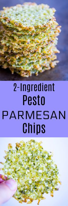 2 Ingredient Pesto Parmesan Chips - Perfect appetizer for your next cocktail party!  So easy to make and delicious too!  Vegetarian/Gluten Free/ Appetizer