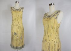 1920's Yellow and Blue Beaded Flapper Dress
