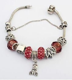 antique #silver color #resin #zinc alloy eurpean bracelet with Bear& leaf http://www.beads.us/product/European-Bracelet_p258943.html?Utm_rid=219754