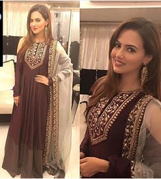 Sana khan Pretty in Payal Singhal outfit and house of devasya earrings for Eid party last night . Pakistani Dresses, Indian Dresses, Indian Outfits, India Fashion, Ethnic Fashion, Bridal Lehngas, Indian Bridal Lehenga, Desi Clothes, Indian Clothes