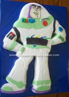 Amazing home made Buzz Lightyear birthday cake! She even gives directions on how she created it!