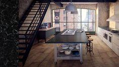 Cool Urban Kitchen Design With Lavish Piatra Grey By Caesarstone On Wonderfull Kitchen