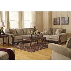 Ashley Lanett 44900SET4PC 4-Piece Living Room Set with Sofa  Loveseat  Chair and Ottoman in Barley