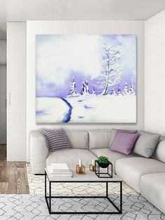 Watercolor Painting - Crystal Mountain Winter Landscape Art Print