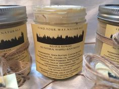 Affordable, blissfully all-natural whipped body butters with essential oils, available at:  https://www.etsy.com/shop/findyourwaynaturals  Explore our variety of all-natural whipped body butters, soaps, and candles today!