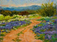 KM2585 Journey into Spring landscape, Texas Hill Country, abstracted landscape, bluebonnets, painting by artist Kit Hevron Mahoney