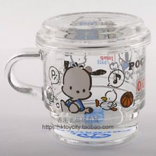 SANRIO POCHACCO TRANSPARENT GLASS CUP WITH HANDLE & COVER 5571-6