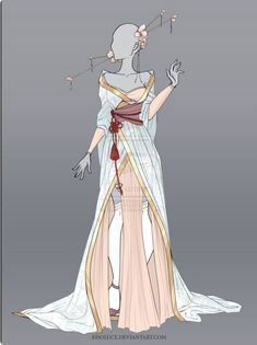 Fashion Drawing (CLOSED) Adoptable Outfit Auction 14 by Risoluce on DeviantArt Dress Drawing, Drawing Clothes, Drawing Drawing, Fashion Design Drawings, Fashion Sketches, Illustration Mode, Illustrations, Anime Dress, Fantasy Dress