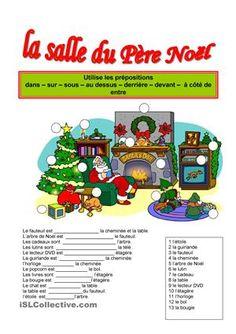 La salle du père Noël fiche d'exercices - Fiches pédagogiques gratuites FLE