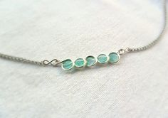 Tiny mint necklace 20% OFF, silver wire necklace, bubble necklace, pastel jewelry, small resin necklace