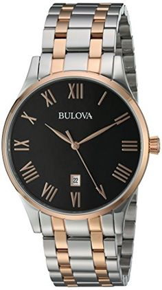 Bulova Mens Quartz Stainless Steel Dress Watch ColorTwo Tone Model -- You can find out more details at the link of the image. Fancy Watches, Modern Watches, Luxury Watches, Cool Watches, Watches For Men, Wrist Watches, Cheap Designer Watches, Bulova Mens Watches, Luxury Watch Brands
