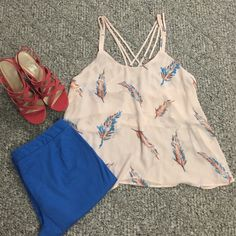 Forever 21 strappy tank Darling forever 21 strappy tank. Size large worn once but to big for me . Light pink color with darling feather print in blue and coral. Small pink discoloration on back pictured in last pic barely even noticeable came like that. Top half or chest portion is double lined. Great condition. Clean smokefree home (shorts and shoes in separate listings. ⭐️make an offer⭐️ Forever 21 Tops Tank Tops