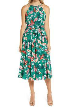 Chiffon Ruffle, Chiffon Dress, Belted Dress, Halter Neck, Nordstrom Dresses, Floral Prints, Summer Dresses, Vintage Inspired, Neckline