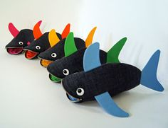 Baby Shark -Choose your Color- Small Mini Shark Fish Kids Toy Bag Crayon Holder - Party Favor: Baby Color Pop Shark Bite, ready to ship. $35.00, via Etsy.