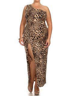 Plus Size On The Prowl Side Zipper Maxi Dress