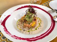 Tartar de Salmon con ajoblanco de anacardos at Restaurant conTenedor  in Seville, Spain
