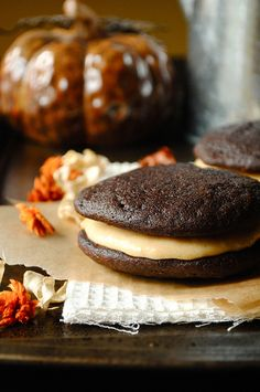 Whoopie Pies with Pumpkin Buttercream Filling