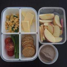 """Lunch Boxes today: apple with chocolate custard dip, cheese, corn, cucumber, tomato, snow peas & seaweed crackers. DIP RECIPE can be found in my Cookbook """"Cut out the Crap Lunchbox Solutions""""  #cutoutthecrap #cutoutthecraplunchboxsolutions #glutenfree #preservativefree #additivefree almost #dairyfree (not the #cheese ) #kidsfood #lunchbox #lunch #morningtea #collettewhite"""