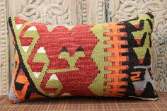 Anatolian Kilim Pillow 12 x 20 Sitting Pillow by ANATOLIANRUGS
