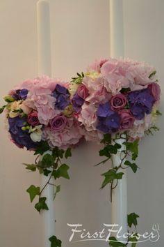 Lumanari nunta romantice cu iedera, hortensie roz si bujori roz - First Flower