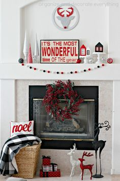 Red and Black Christmas Wonder Mantel {Organize Your Stuff Now}