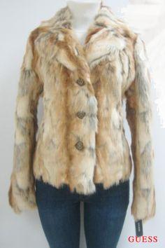 Guess Faux Fur Coat, Jacket, Natural, Xlarge, Nwt, Mf360