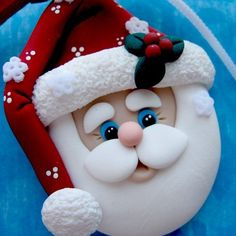 Santa Ornament Polymer Clay by DesignsByWho on Etsy, $10.00  ✿´¯`*•.¸¸✿ SHARE ✿´¯`*•.¸¸✿
