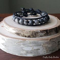 Black network single wrap leather bracelet