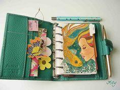 filofax diary / illustration / doodle / art / blue-freen / mermaid / fish / organization / personal / cute