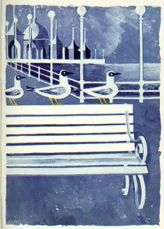 Robert Tavener illustration from the Kynoch Press Notebook, 1958.  Tavener based all the illustrations in the notebook on the seaside and weather in Brighton.
