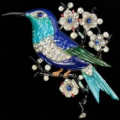 Trifari 'Alfred Philippe' Pave and Enamel Hummingbird with  Flowers on a Branch Pin 1940