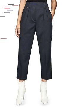 Reiss Hendrix Crop Pants   Nordstrom Women's Reiss Hendrix Crop Pants, Size 10 US / 14 UK - Blue