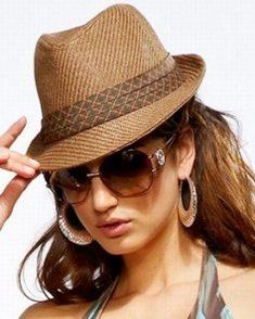 awesome Gangster fashion brown toyo straw womens fedora hat...