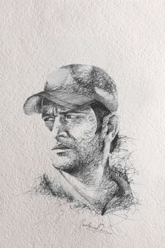 MS Dhoni drawing. Pen on paper.