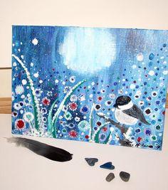 Frozen Field Original Painting Bird and the Moon Acrylic Art Nature Landscape Painting Blue Art Original Wall Art by Niina Niskanen