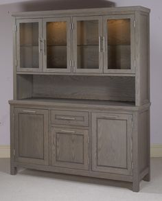 ceated a custom grey wood stain by mixing colors. I have a hutch just like this I've been wanting to refinish. I think this is the look I'm going for