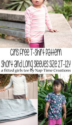 girls t-shirt pattern in size 2t-12y. Long and short sleeve options for this classic fitted t-shirt. Free kids sewing patterns from Nap-Time Creations