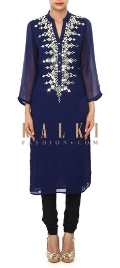 Buy Online from the link below. We ship worldwide (Free Shipping over US$100) Price- $59 Click Anywhere to Tag http://www.kalkifashion.com/navy-blue-kurti-embellished-in-mirror-and-zari-embroidery-only-on-kalki.html