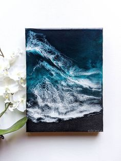 Do you like resin art? Especially when the art reminds you the holiday? Resin Crafts, Resin Art, Blue Abstract Painting, Peace Art, Ocean Art, Diy Art, Art Projects, Black Sand, Sand Beach