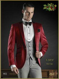 #Tuxedo Rojo con pata gallo. #Blazer for Men #MadeinItaly www.ottavionuccio.com #Bespoke #excelencia online www.comercialmoyano.com