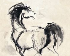 Items similar to Horse Print - Horse Art - Horse Drawing - Horse Ink Sketch - Stallion Print - Pen And Ink Arabian Stallion on Etsy Painted Horses, Art And Illustration, Horse Drawings, Art Drawings, Horse Pens, Art Du Croquis, Horse Sketch, Horse Artwork, Horse Paintings