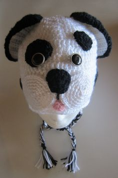 Crocheted Dalmatian Dog Beanie with earflaps. Inspiration from http://www.repeatcrafterme.com/2014/01/crochet-dalmatian-dog-pattern.html