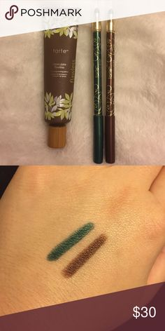 "Tarte Cosmetics bundle Skinny smolder eyes Amazonian clay waterproof eyeliners in ""emerald"" and ""sunstone bronze"". Tarte clean slate flawless 12-hr brightening primer. Primer is about half used but still has a good amount of product left. Eyeliners have been sharpened about once each Tarte Makeup Face Primer"