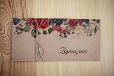 Zaproszenia ślubne rustykalne, kwiaty, papier eco, sznurek