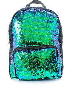 Add a little pizazz to your look with the Magic Sequins Mermaid Backpack by Fashion Angels. The blue and green sparkling sequins can transform to more matte black sequins by the swipe of your hand. This super cute pack is also practically designed, featur