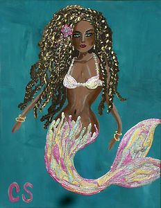 CSchenkART Mermaid Black African Hawaii Flower 11x14 PainTinG Original BeaCH Art